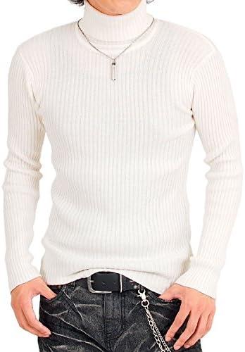 タートルネック ニット メンズ セーター 2重臼編み タイト 無地 長袖
