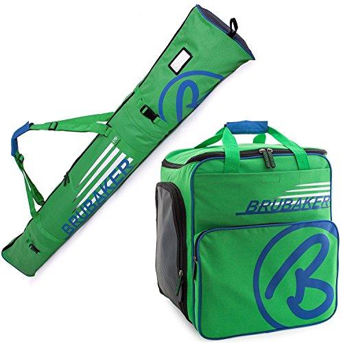 BRUBAKER Henry Superfunction Combo Ski Boot Bag and Ski Bag for 1 Pair of Ski up to 170 cm, Poles, Boots and Helmet - Blue ()