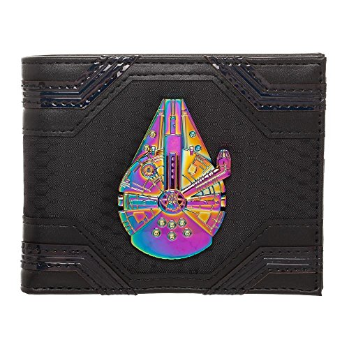 Star Wars Millennium Falcon Badge Trifold Chain Wallet, Disney Han Solo Wallet - Wallet Millennium Card Leather