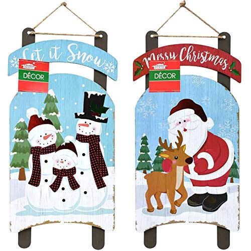 Christmas Decorations Wall Signs Celebrate A Holiday Let it Snow Decore Door Ornament Large Wood Hanging Plaque Merry X-mas Country Home Decor Indoor Outdoor Porch Hanger Sled-Shaped 2 Pack 15.5