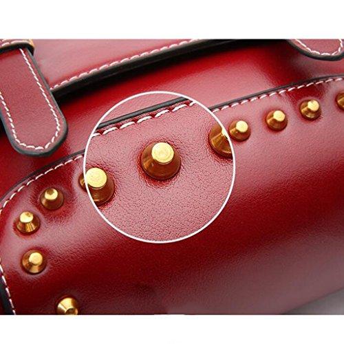 à Cuir Femmes bandoulière Bag Femme à Messenger Sac en 5cm Burgundy 21 9 Main à 16 Taille pour bandoulière Vintage Sac magnétique Sac PqFSzwxI