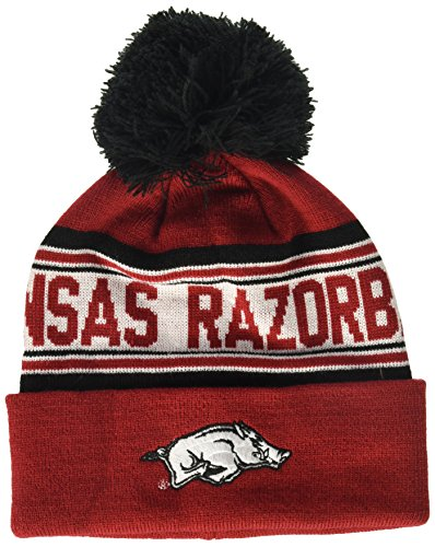 NCAA Arkansas Razorbacks Youth Boys Cuffed Knit with Pom Hat, 1-Size, Victory Red - Arkansas Razorbacks Pom Pom