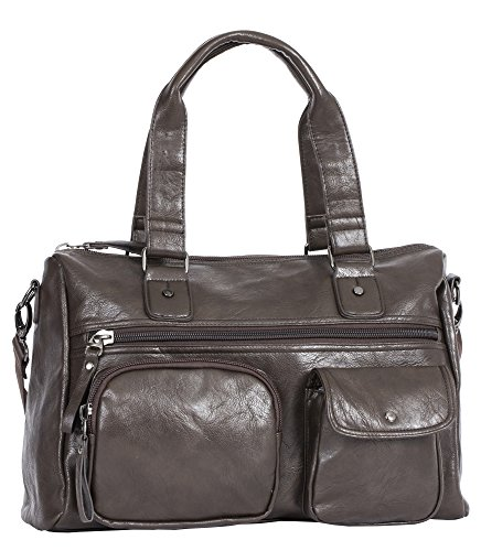 Big Handbag Shop - Bolso mochila de piel sintética para mujer Messenger  Style 1 -Coffee