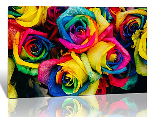 Purple Verbena Art Flower Painting Wall Decor Art Colorful Rainbow Roses Pictures HD Modern Giclee Canvas Prints Wall Artwork for Home Living Room Bathroom Room Decoration Stretched and Framed