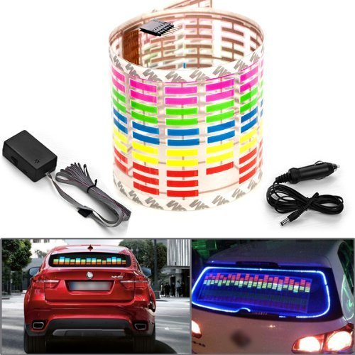 Docooler Universal Colorful Sound Sensitive LED Decoration Lights Car Sticker DC 12V with Car Cigarette Charger, 45x11cm