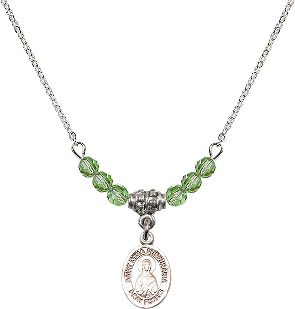 18-Inch Rhodium Plated Necklace with 4mm Peridot Birthstone Beads and Sterling Silver Saint Lydia Purpuraria Charm.