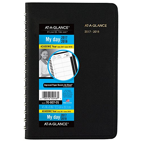"AT-A-GLANCE Academic Daily Appointment Book / Planner, July 2017 - June 2018, 4-7/8"" x 8"", Black (7080705)"