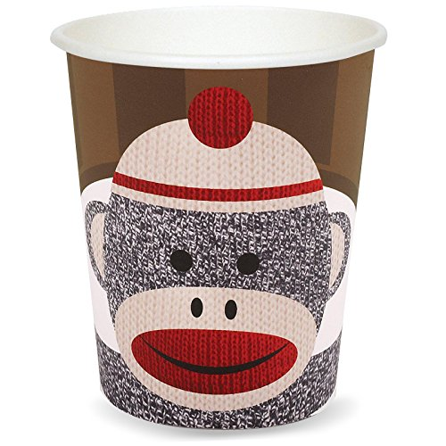 Sock Monkey Party Supplies - 9 oz. Paper Cups (8) - Sock Puppet Costume Monkey