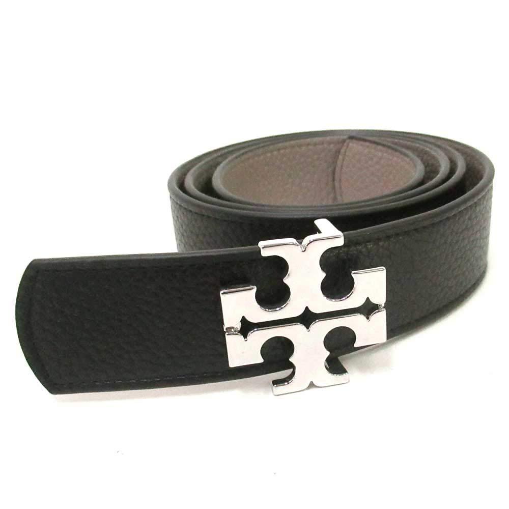 Tory Burch Womens Reversible Belt 1 1/2'' Leather TB Logo Black French Grey (Large)