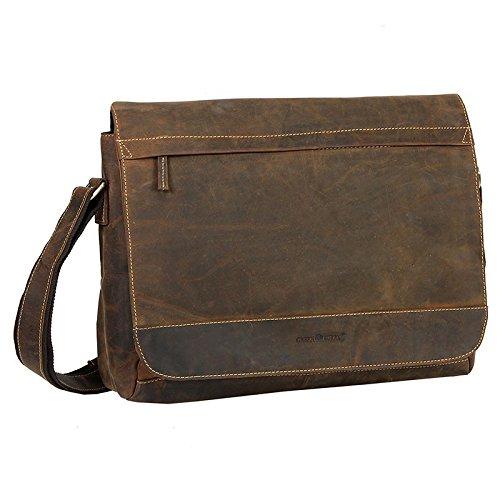 Greenburry - Tracolla portadocumenti vintage, XXL, 36 x 27 x 10 cm, colore: marrone invecchiato