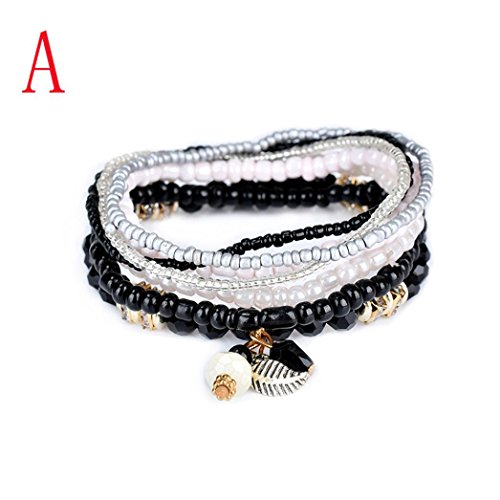 - HIRIRI Fashion Women Lady 1 Set Beautiful Stretch Acrylic Beaded Pearls Leaf Bohemian Bracelet Bangle Jewelry (A)