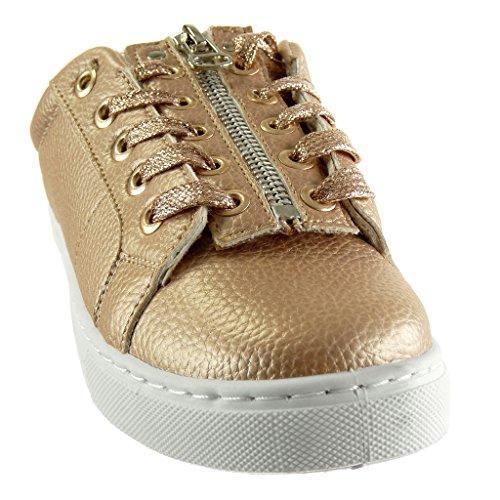 de plano talón para deporte de moda Champán con suela de granulada 2 Zapatillas zapatilla de Angkorly deporte CM cremallera mujer wq6gvO4x