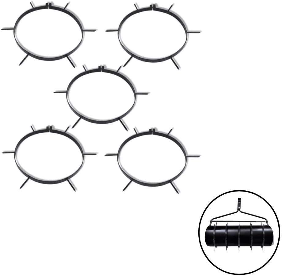 SOULONG Rodillo Aireador de Césped de Hierro con Púas 5 Unidades, Diámetro de 30 cm, Longitud de la Púa 6 cm Negro