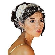 Leslie Li Women's Floret Lace Hair Comb & Bridal Birdcage Veil One Size Ivory 23-117