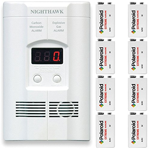 Kidde KN-COEG-3 Nighthawk Plug-In Carbon Monoxide and Explosive Gas Alarm with 8 9v Polaroid Extreme Alkaline Battery Backups