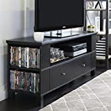 New 59 Inch Wide Black Television Stand with Front & Side Storage