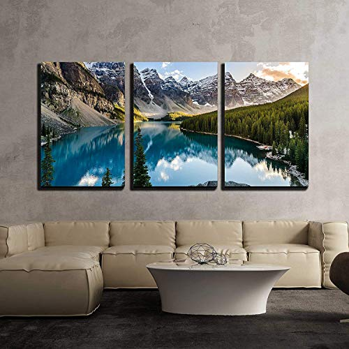 wall26 – 3 Piece Canvas Wall Art – Landscape View of Moraine Lake and Mountain Range at Sunset in Canadian Rocky Mountains – Modern Home Decor Stretched and Framed Ready to Hang – 16 x24 x3 Panels