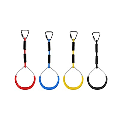 BESPORTBLE Swing Gymnastic Rings, Climbing Ring Obstacle Ring Swing Toys Set for Kids Play 4PCS (Red): Toys & Games