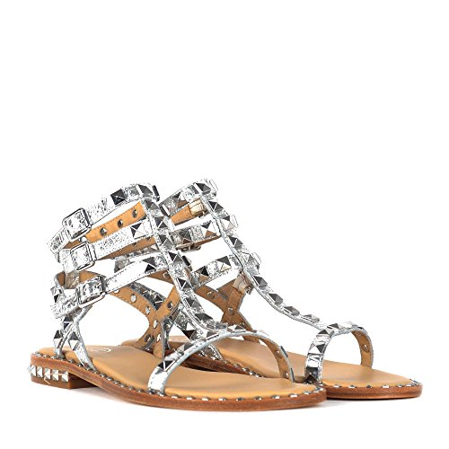 Ash Poison Sandals Silver Leather Studs Silver/Beige uhojLKjIp