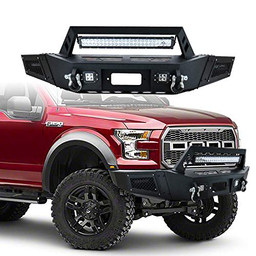 Hunter Ford Front Bumper Black Texture with 1X 144W Long LED Strip & 4X 18W Square LED Lights for 09-14 Ford F150(Excluding Raptor)