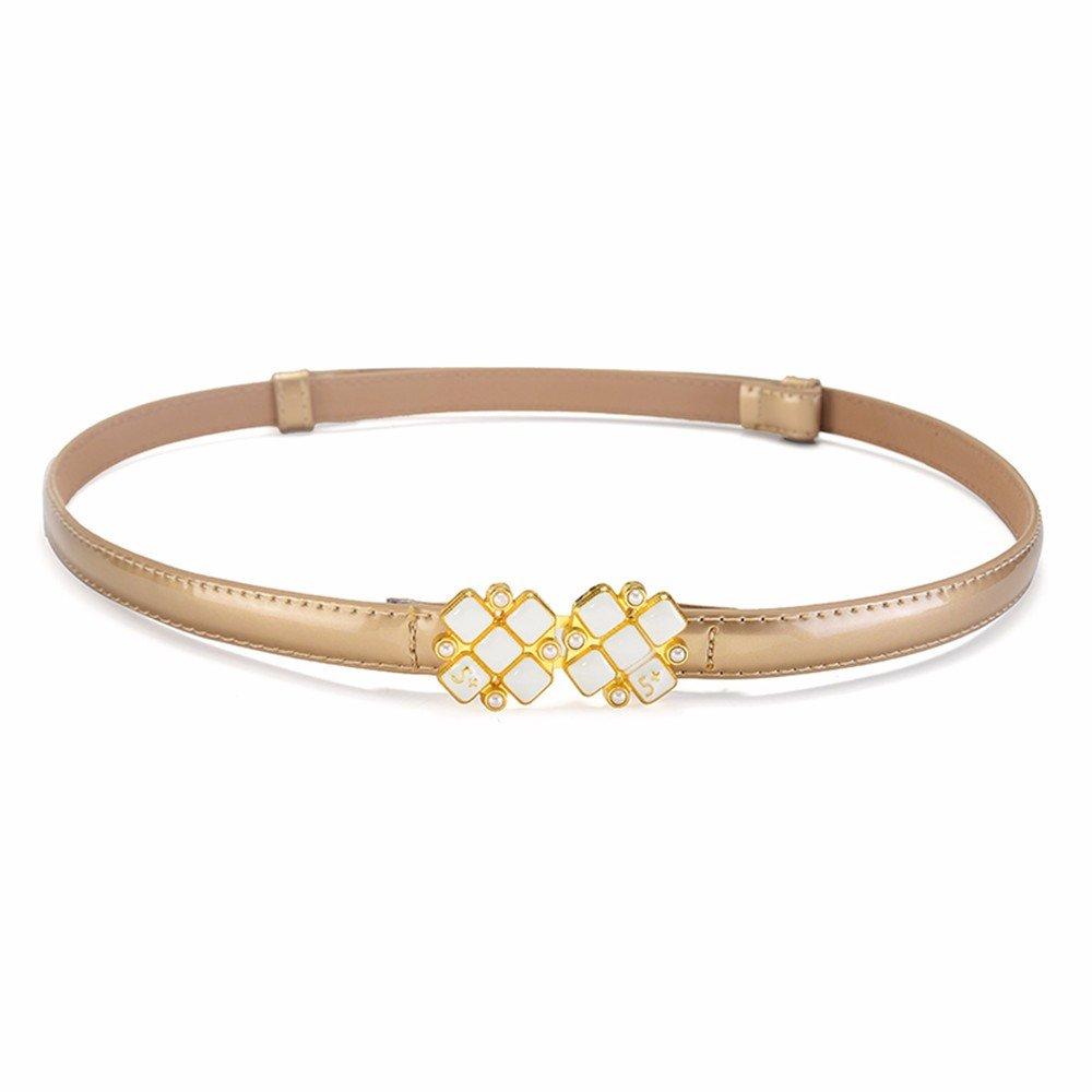 SAIBANGZI Ms Women All Seasons Belt Fine Leather Simple Decorative Dress Belt Girlfriend Present Golden 89Cm