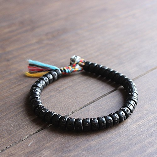 TALE Tibetan Buddhist Handbraided Lucky knots With Hand-Carved Six True Mantra Words Coconut Shell Beads OM Bracelet