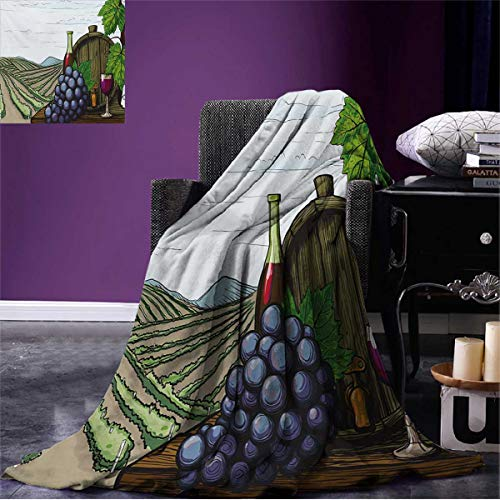 Wine Couch Blanket Landscape with Views of Vineyards Grapes Leaves Drink Barrel Agriculture Field Farm Custom Multicolor W50 x L30 inch