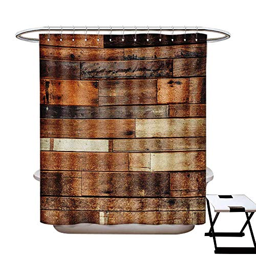 Wooden Shower Curtains Fabric Rustic Floor Planks Print Grungy Look Farm House Country Style Walnut Oak Grain Image Bathroom Decor Set Hooks W48 x L84 Brown