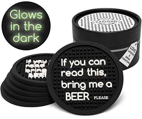 Set of 6 Coasters for Drinks, Glowing in the Dark, Absorbant Drink Coaster, Moisture Retaining, Funny Saying, Cool Beer Lover Gifts for Men and Women (If you can read this bring me a beer)