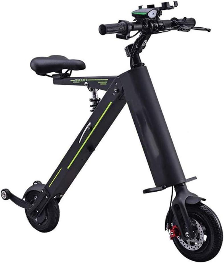 Macro Bicicleta eléctrica Mini Coche eléctrico Plegable Adulto Faros LED 2 Ruedas Batería de Litio Bicicleta Doble Rueda de Potencia Pantalla LED Inteligente Portátil Viajar Coche de la batería,Negro: Amazon.es: Deportes y