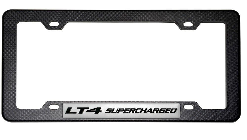 BLACK//BLUE SUPERCHARGED ENGINE LICENSE PLATE TAG FRAME CARBON FIBER LOOK