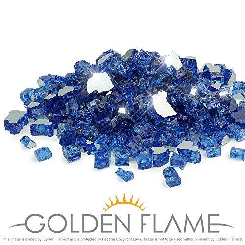 (Golden Flame 10-Pound Fire Glass 1/2-Inch Cobalt Blue Reflective )
