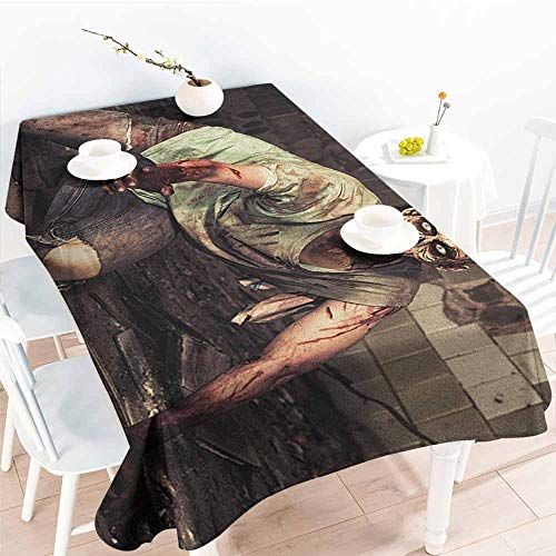 EwaskyOnline Spill-Proof Table Cover,Zombie Halloween Scary Dead Man in The Old Building with Bloody Head Nightmare Theme,Table Cover for Kitchen Dinning Tabletop Decoratio,W60X90L, Grey Mint Peach ()