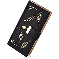 Lorna Women's Leather Wallet Hollow Leaf Pattern Bifold Long Wallet