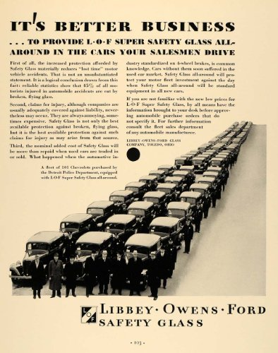 1933 Ad Libbey Owens Ford Safety Glass Detroit Police - Original Print Ad from PeriodPaper LLC-Collectible Original Print Archive