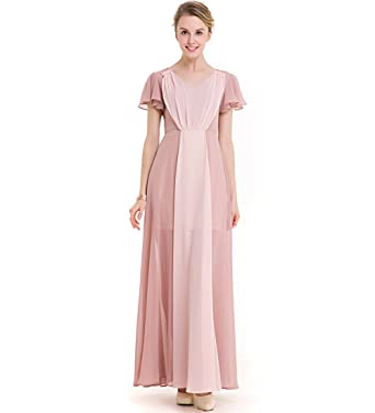 KAXIDY Ladies Pink Evening Dresses Gowns Wedding Holiday Beach Maxi Dresses (Small)