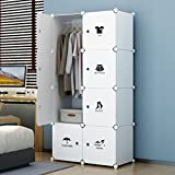 KOUSI Portable Closet Clothes Wardrobe Bedroom Armoire Storage Organizer with Doors, Capacious & Sturdy. 5 cubes+1 Hanging Section, White