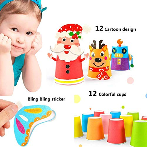 Toddler Paper Craft Art Kit Diy Handmade Paper Cups 12pcs