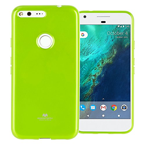 GOOSPERY Marlang Marlang Google Pixel XL Case - Lime Green, Free Screen Protector [Slim Fit] TPU Case [Flexible] Pearl Jelly [Protection] Bumper Cover for Google PixelXL 2016, PIXXL-JEL/SP-LIM