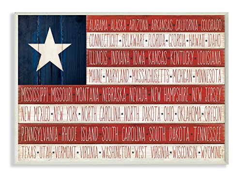 (Stupell Home Décor American Flag with States Wall Plaque Art, 10 x 0.5 x 15, Proudly Made in USA)