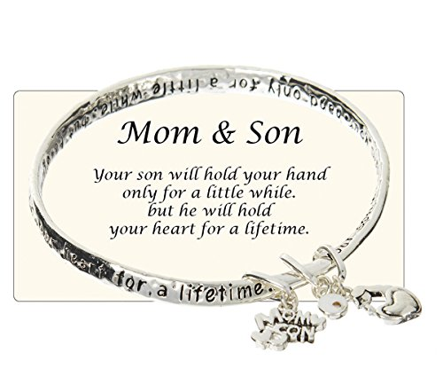 Jewelry Nexus Mom & Son Will Hold Your Hand for a Little While but Your Heart for a Lifetime Charm Bracelet