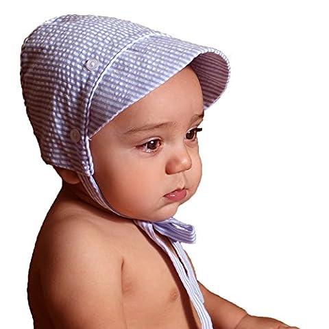Huggalugs Baby Boys Blue and White Seersucker Bonnet 3-6mo - Striped Seersucker Cap