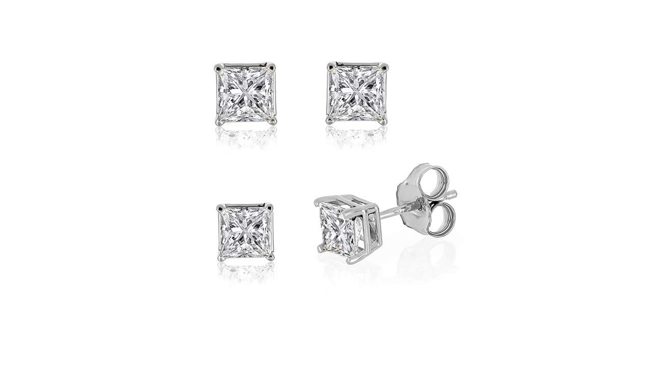 IGI Certified 10k White Gold 0.10ct to 2ct Princess Diamond Stud Earring (H-I, SI)