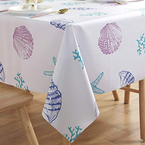 Waterproof Tablecloth Oilcloth Picnic PVC Wipeable Plastic Spillproof Peva Vinyl Oil-Proof Fabric Heavy Duty Oblong Elegant Long Tablecloths Ocean Shell 7ft 54x84 - 7' Picnic Table