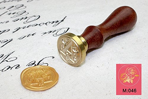 Bamboo's Grocery Wax Seal Stamp, Vintage Retro Brass Head Wooden Handle Classic Sealing Wax Seal Stamp, Rose, M046