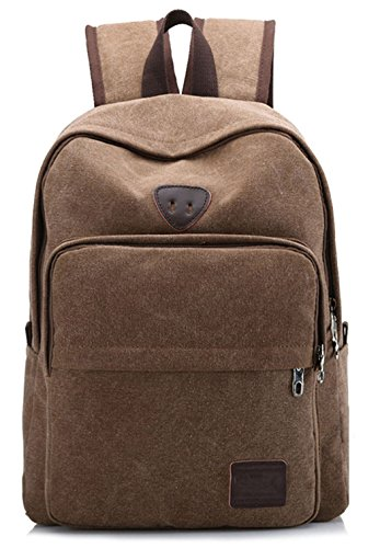 Veenajo Unisex Vintage Canvas Classic Backpack Laptop backpack School Rucksack Travel Backpack (Coffee)