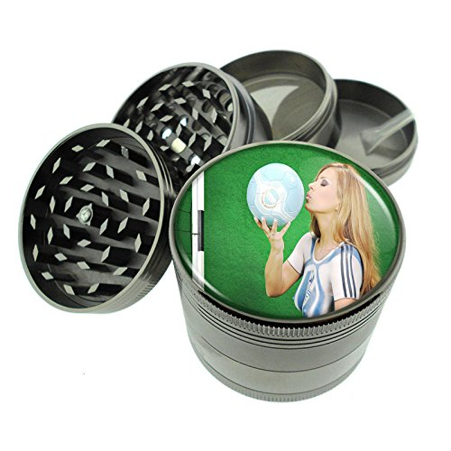 Argentina Pin Up Girls South America S9 Dark Cool Gray / Titanium Zinc Metal Grinder 4 Piece Diamond Cut Teeth Heavy Duty