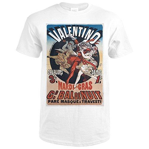 Valentino - Mardi Gras Vintage Poster (artist: Cheret) France c. 1869 (Premium White T-Shirt X-Large)