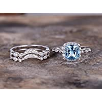 3pcs blue topaz wedding ring set!8mm Cushion Engagement ring,white gold plated,925 sterling silver stacking CZ Bridal ring,matching band,Women Halo ring,Man Made diamond CZ ring,any size
