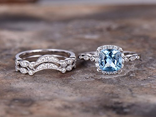 3pcs blue topaz wedding ring set!8mm Cushion Engagement ring,white gold plated,925 sterling silver stacking CZ Bridal ring,matching band,Women Halo ring,Man Made diamond CZ ring,any - Set Topaz Wedding Engagement